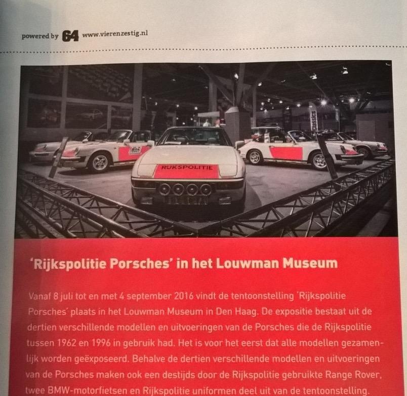 RS Porsche Magazine 2016/3 aankondiging expositie Rijkspolitie Porsches in het Louwman Museum in Den